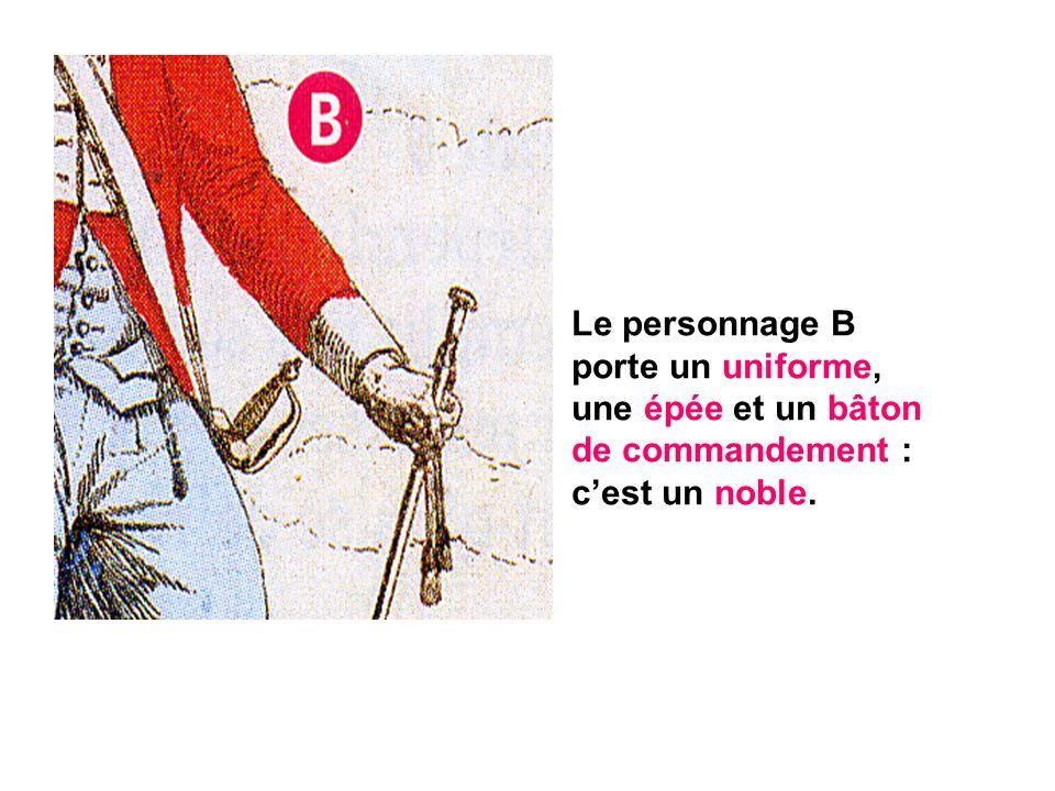 Le personnage B porte un uniforme, une épée et un bâton de commandement : c'est un noble.