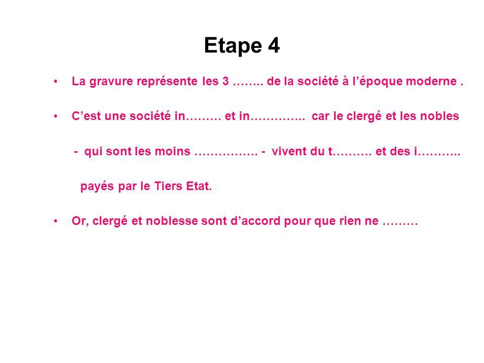 Etape 4 La gravure représente les 3 …….. de la société à l'époque moderne . C'est une société in……… et in………….. car le clergé et les nobles.