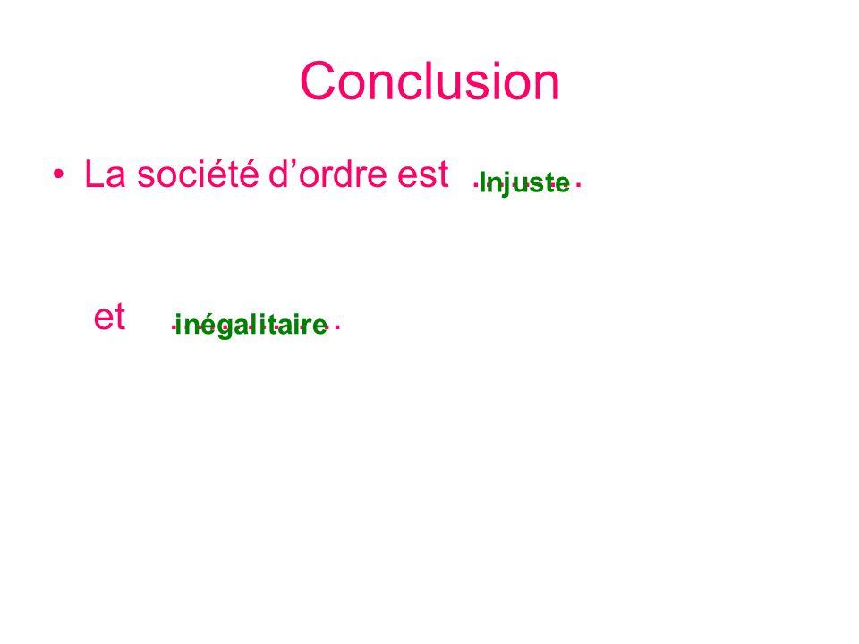 Conclusion La société d'ordre est ……… Injuste et ………….. inégalitaire