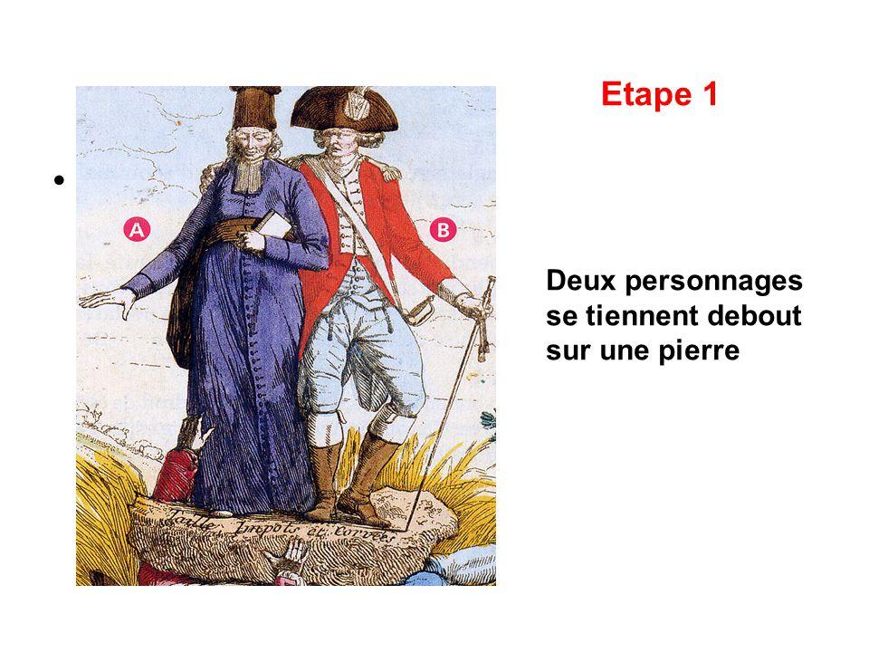 Etape 1 Deux personnages se tiennent debout sur une pierre