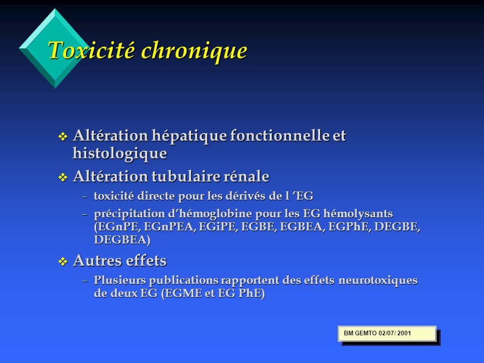 Toxicité chronique Altération hépatique fonctionnelle et histologique