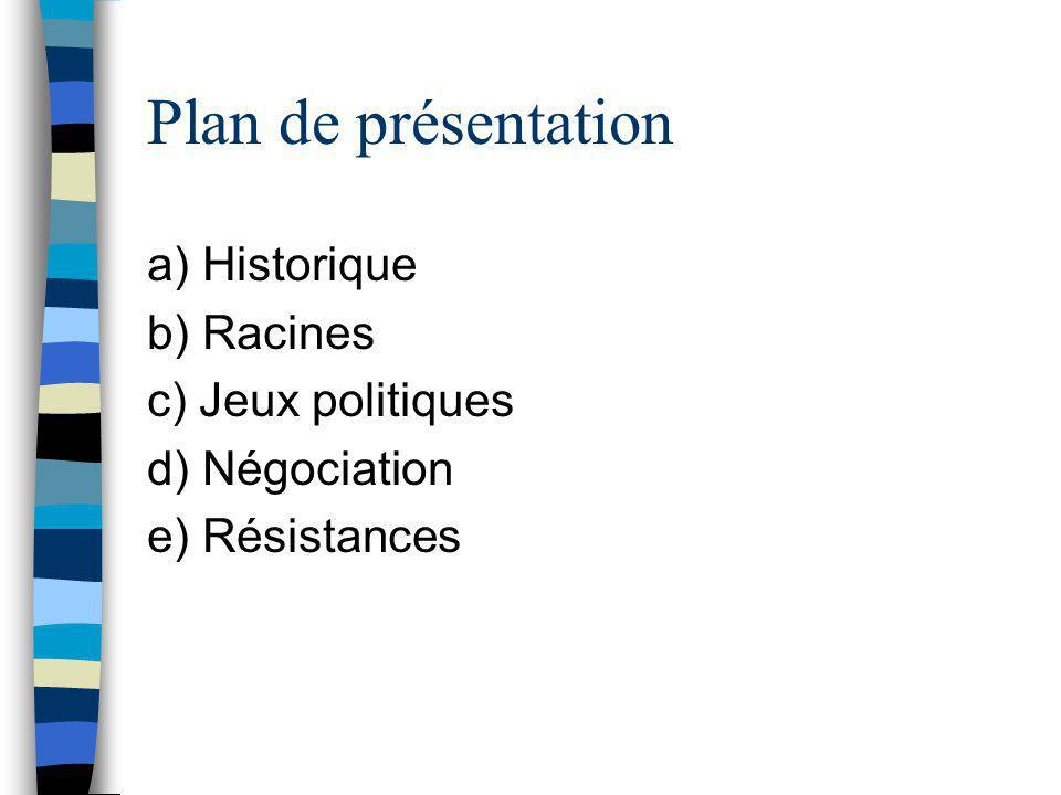 Plan de présentation a) Historique b) Racines c) Jeux politiques