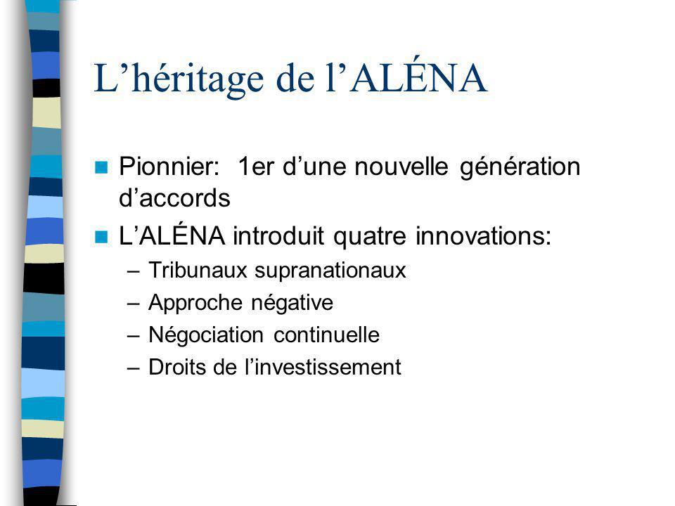 L'héritage de l'ALÉNA Pionnier: 1er d'une nouvelle génération d'accords. L'ALÉNA introduit quatre innovations: