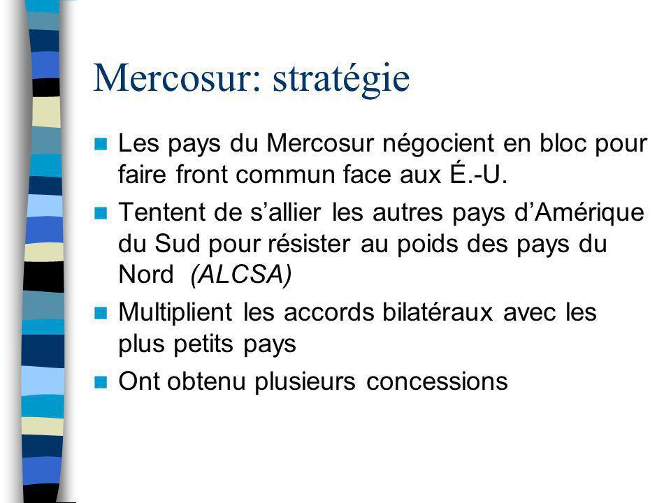 Mercosur: stratégie Les pays du Mercosur négocient en bloc pour faire front commun face aux É.-U.