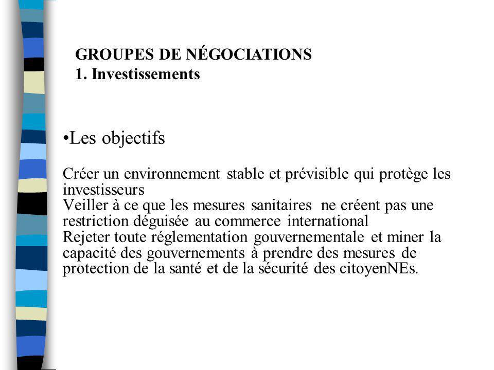 GROUPES DE NÉGOCIATIONS 1. Investissements