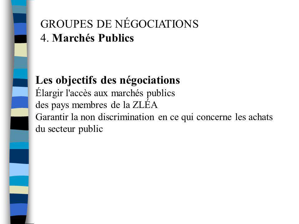 GROUPES DE NÉGOCIATIONS 4. Marchés Publics