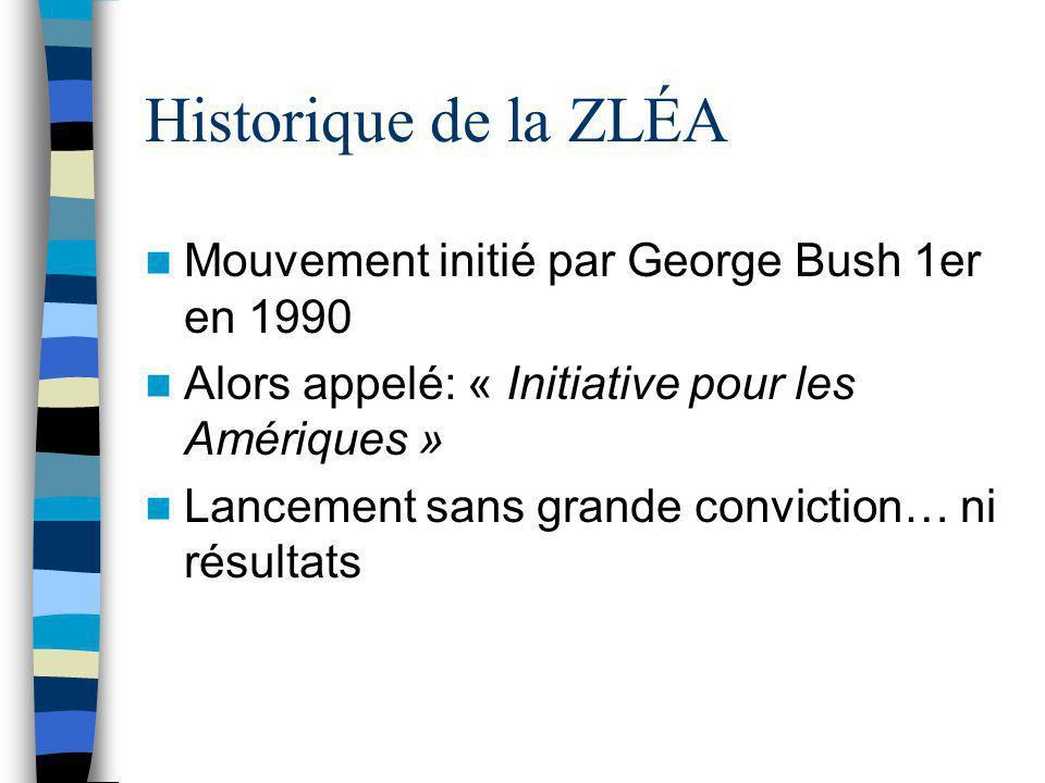 Historique de la ZLÉA Mouvement initié par George Bush 1er en 1990