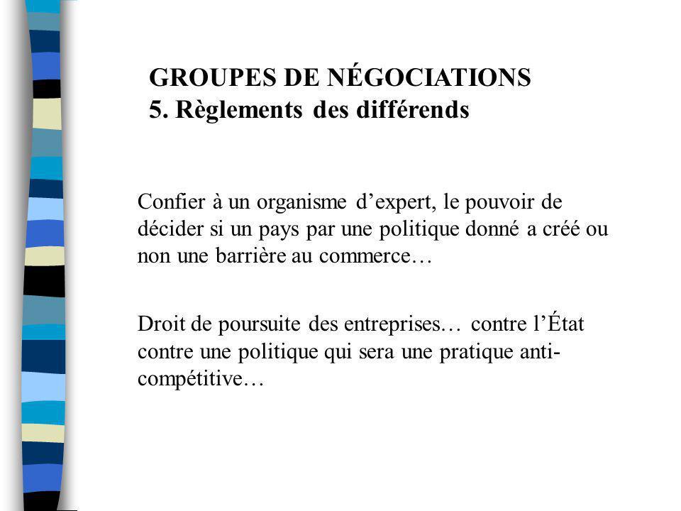GROUPES DE NÉGOCIATIONS 5. Règlements des différends