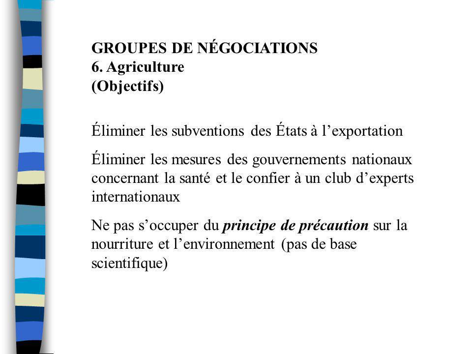 GROUPES DE NÉGOCIATIONS 6. Agriculture (Objectifs)