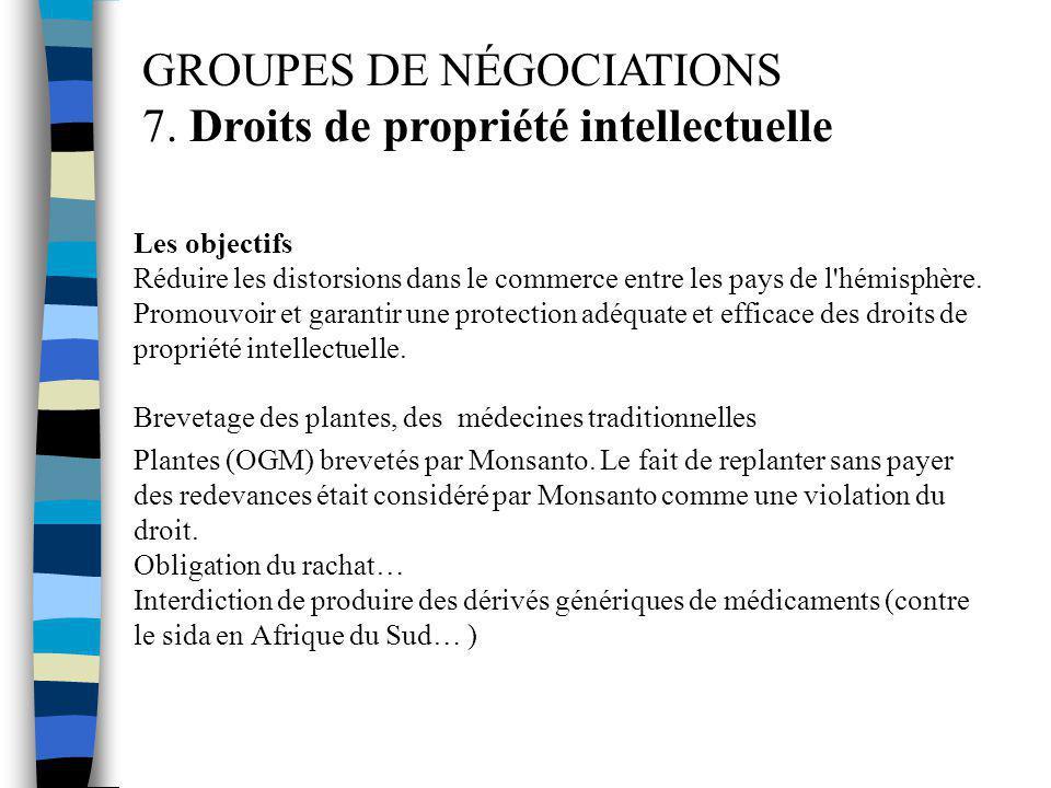 GROUPES DE NÉGOCIATIONS 7. Droits de propriété intellectuelle