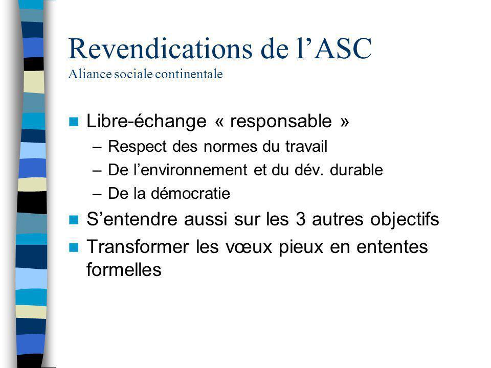 Revendications de l'ASC Aliance sociale continentale