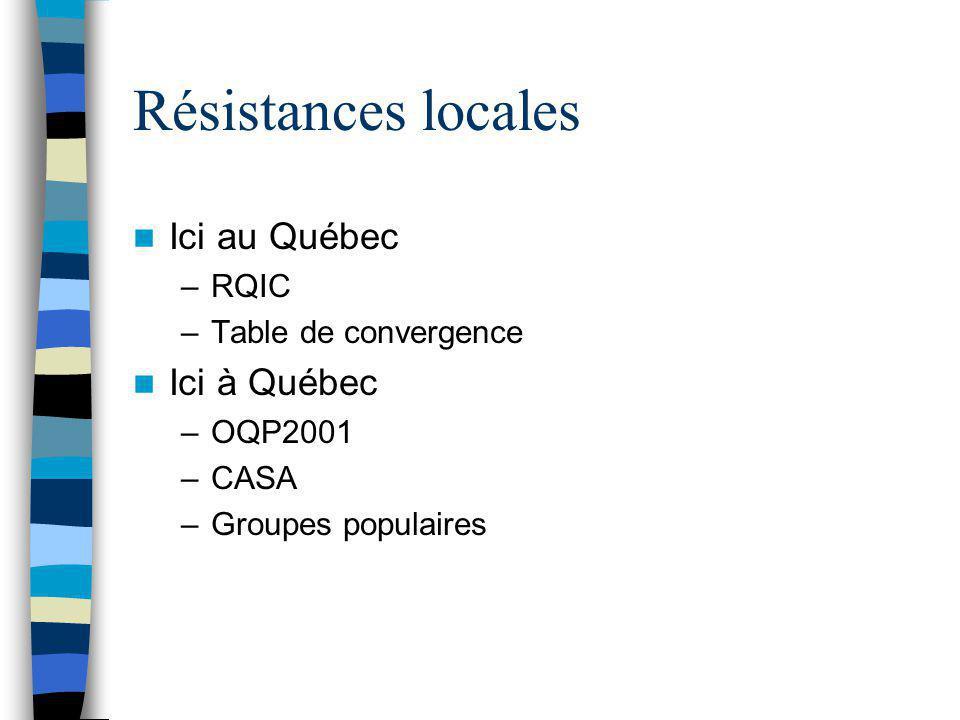 Résistances locales Ici au Québec Ici à Québec RQIC