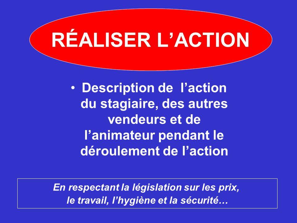 RÉALISER L'ACTION Description de l'action du stagiaire, des autres vendeurs et de l'animateur pendant le déroulement de l'action.