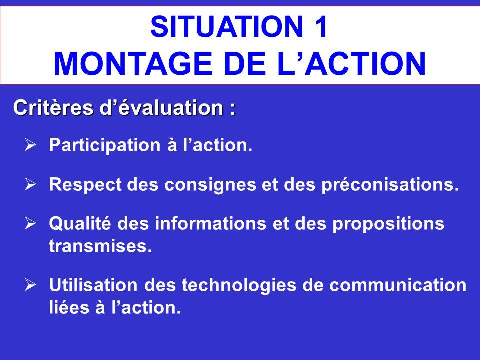 MONTAGE DE L'ACTION SITUATION 1 Critères d'évaluation :