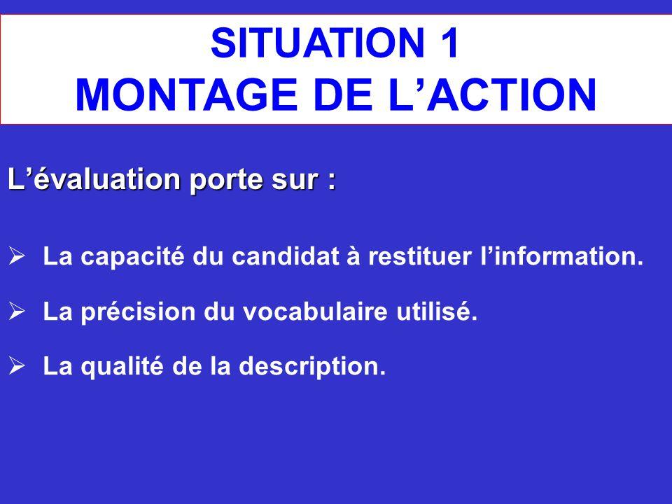 MONTAGE DE L'ACTION SITUATION 1 L'évaluation porte sur :