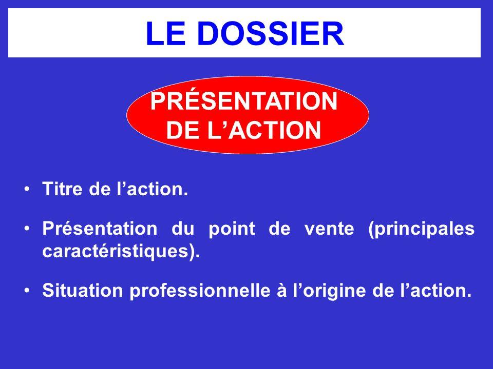 LE DOSSIER PRÉSENTATION DE L'ACTION Titre de l'action.
