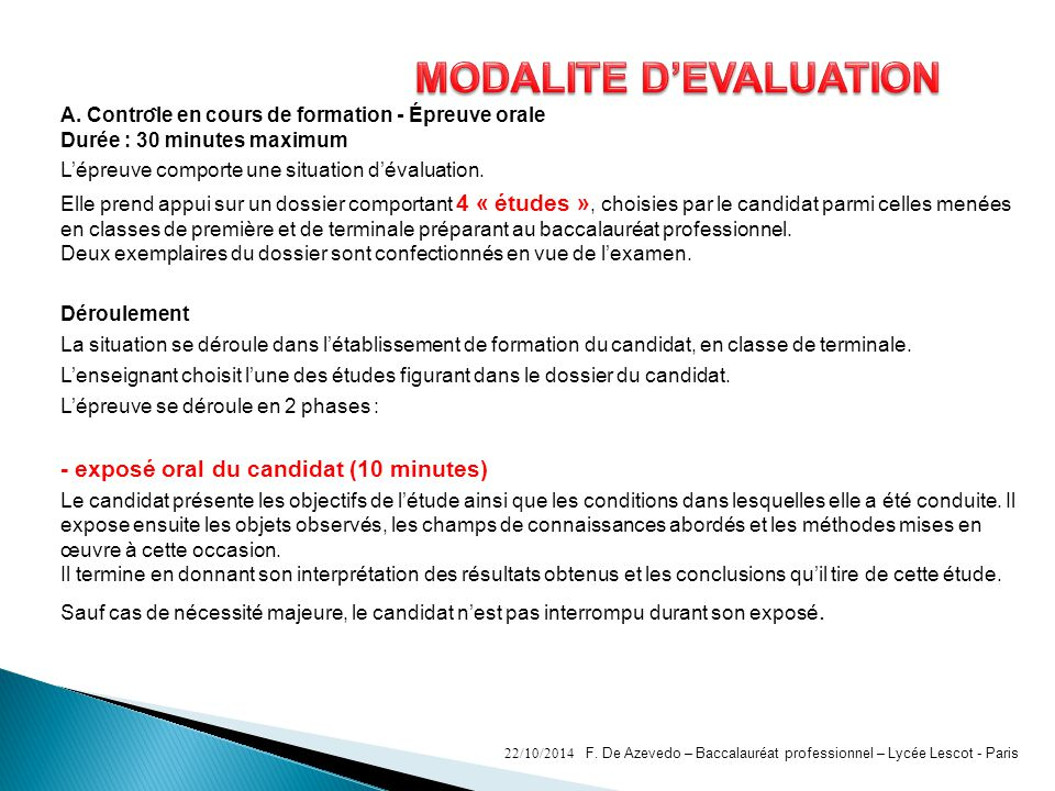 MODALITE D'EVALUATION