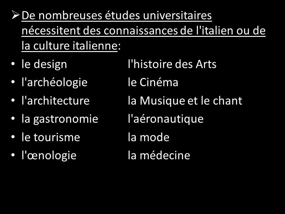 De nombreuses études universitaires nécessitent des connaissances de l italien ou de la culture italienne: