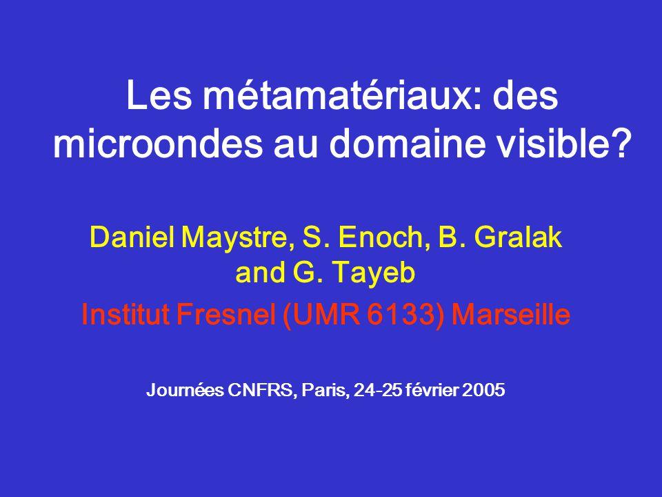Les métamatériaux: des microondes au domaine visible