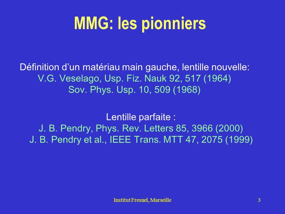 MMG: les pionniers Définition d'un matériau main gauche, lentille nouvelle: V.G. Veselago, Usp. Fiz. Nauk 92, 517 (1964)