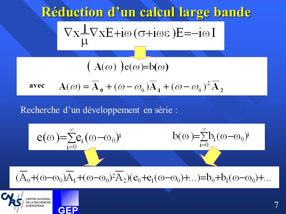 Réduction d'un calcul large bande
