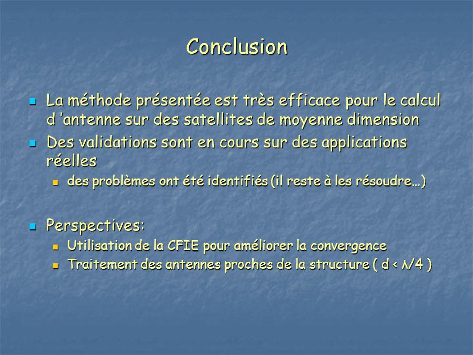 Conclusion La méthode présentée est très efficace pour le calcul d 'antenne sur des satellites de moyenne dimension.