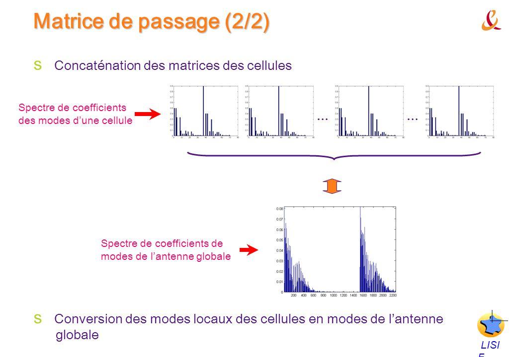 Matrice de passage (2/2) Concaténation des matrices des cellules