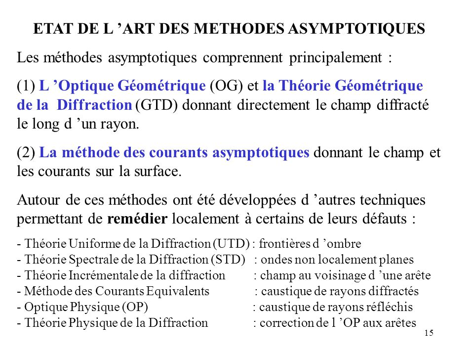 ETAT DE L 'ART DES METHODES ASYMPTOTIQUES