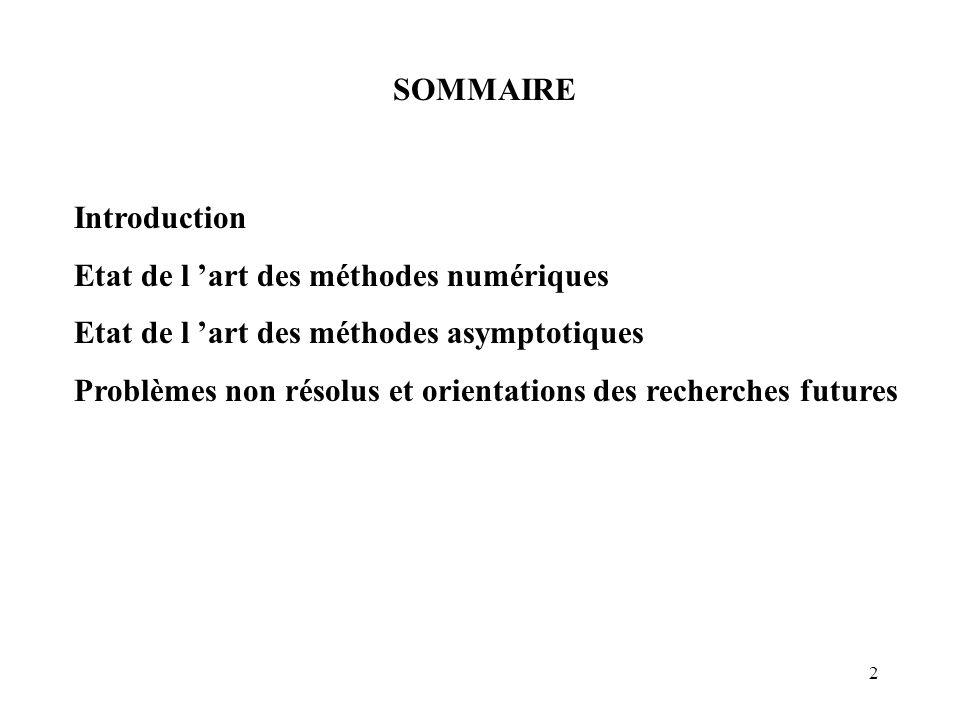 SOMMAIRE Introduction. Etat de l 'art des méthodes numériques. Etat de l 'art des méthodes asymptotiques.