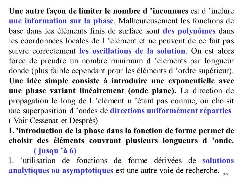 Une autre façon de limiter le nombre d 'inconnues est d 'inclure une information sur la phase. Malheureusement les fonctions de base dans les éléments finis de surface sont des polynômes dans les coordonnées locales de l 'élément et ne peuvent de ce fait pas suivre correctement les oscillations de la solution. On est alors forcé de prendre un nombre minimum d 'éléments par longueur donde (plus faible cependant pour les éléments d 'ordre supérieur). Une idée simple consiste à introduire une exponentielle avec une phase variant linéairement (onde plane). La direction de propagation le long de l 'élément n 'étant pas connue, on choisit une superposition d 'ondes de directions uniformément réparties