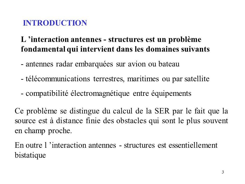 INTRODUCTION L 'interaction antennes - structures est un problème fondamental qui intervient dans les domaines suivants.