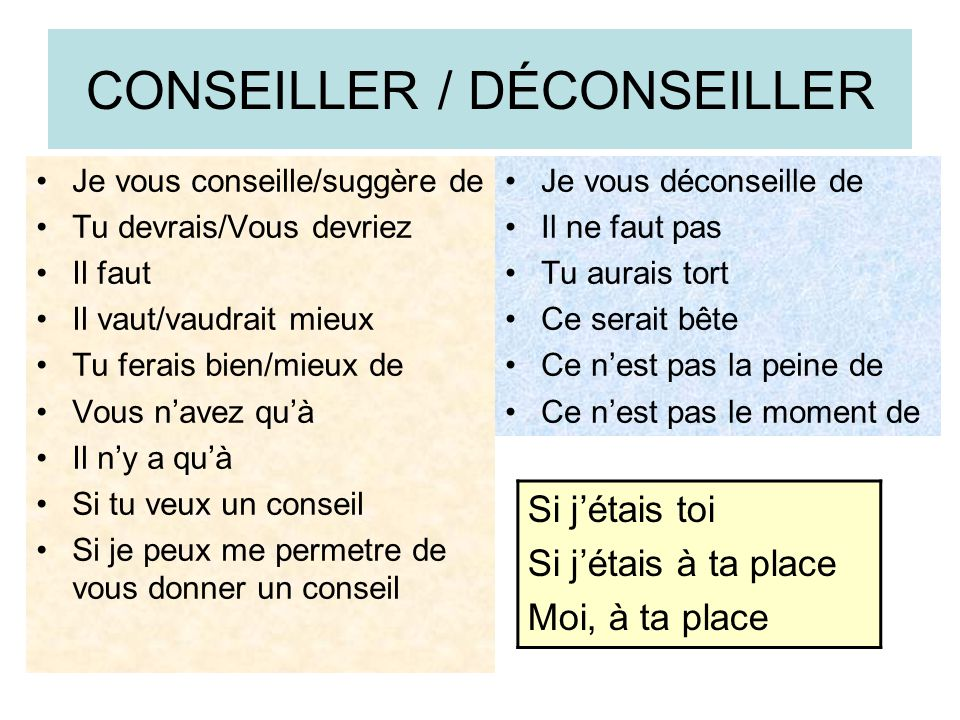 CONSEILLER / DÉCONSEILLER