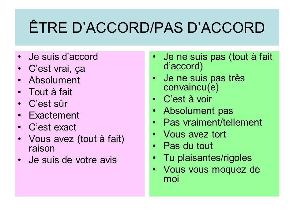 ÊTRE D'ACCORD/PAS D'ACCORD