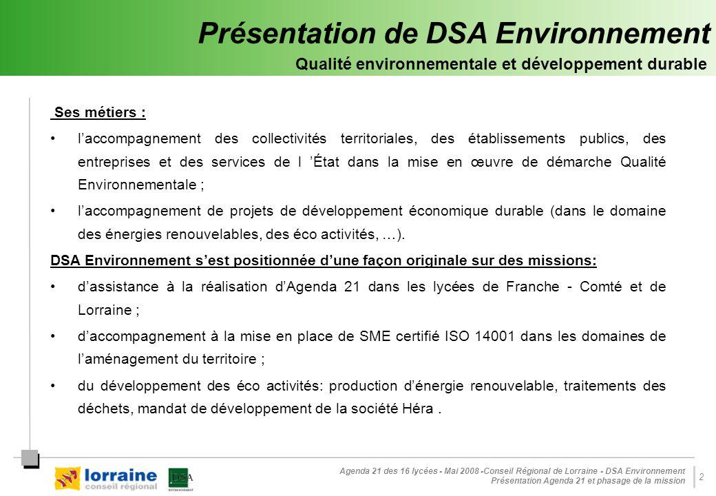 Présentation de DSA Environnement