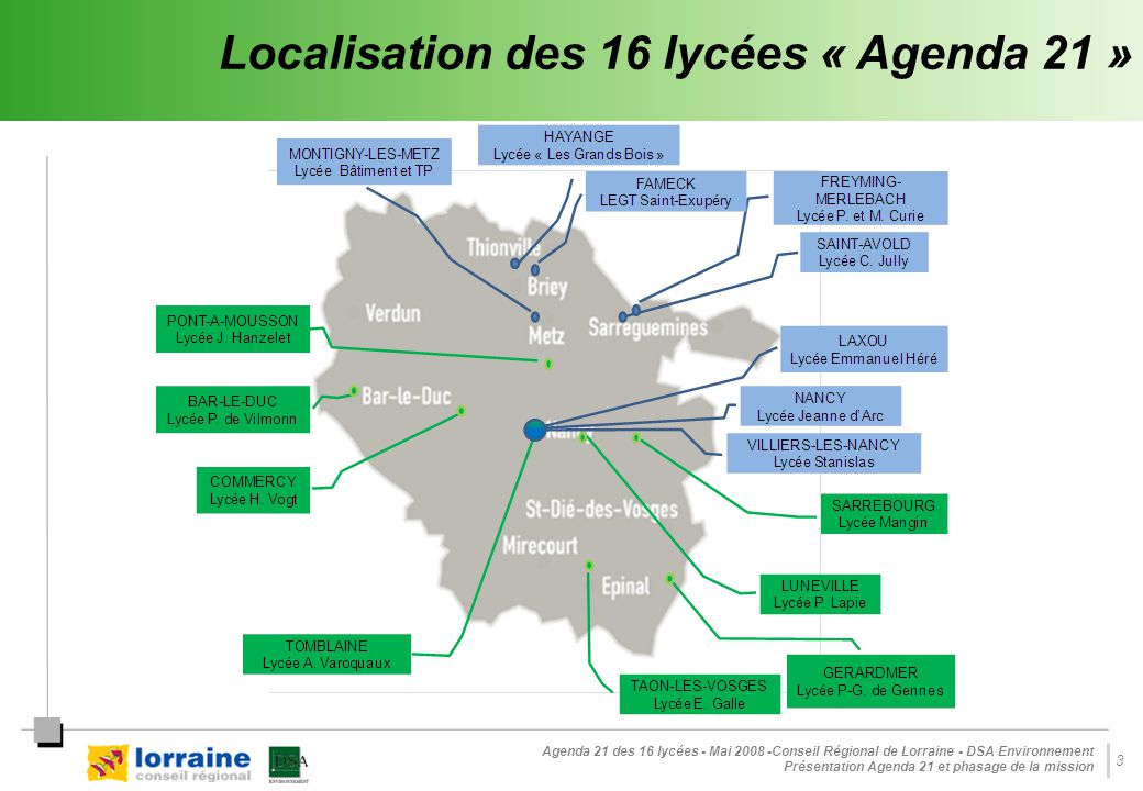 Localisation des 16 lycées « Agenda 21 »