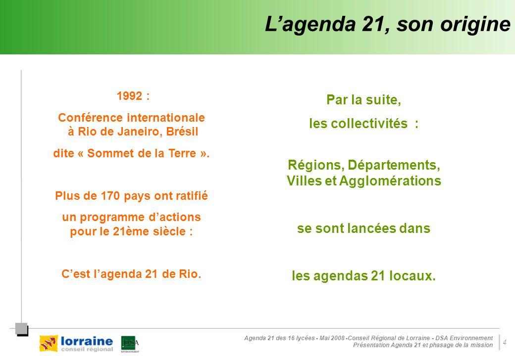 L'agenda 21, son origine Par la suite, les collectivités :