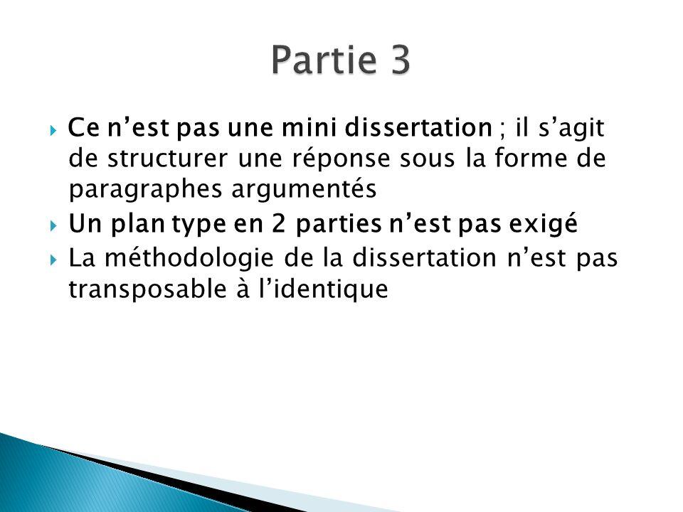 Partie 3 Un plan type en 2 parties n'est pas exigé