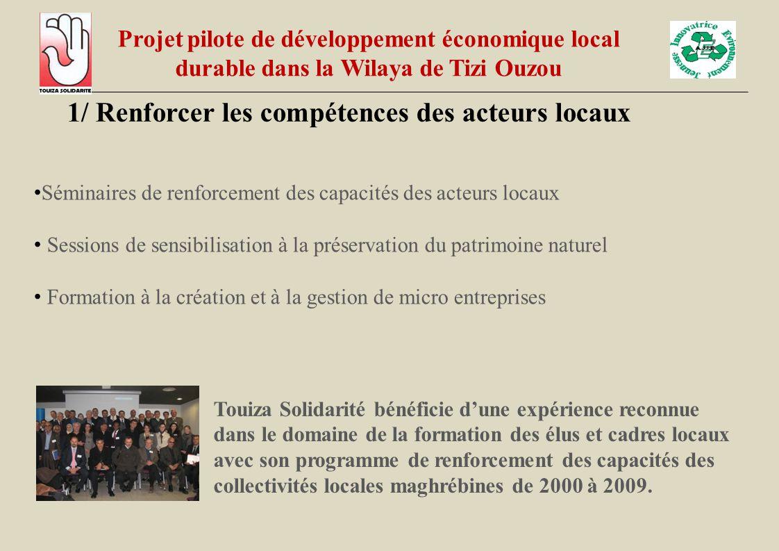 1/ Renforcer les compétences des acteurs locaux