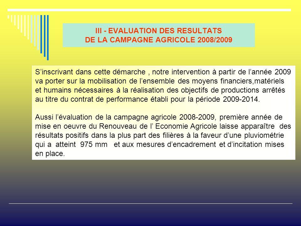 III - EVALUATION DES RESULTATS DE LA CAMPAGNE AGRICOLE 2008/2009
