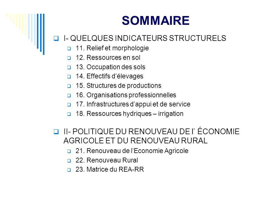 SOMMAIRE I- QUELQUES INDICATEURS STRUCTURELS