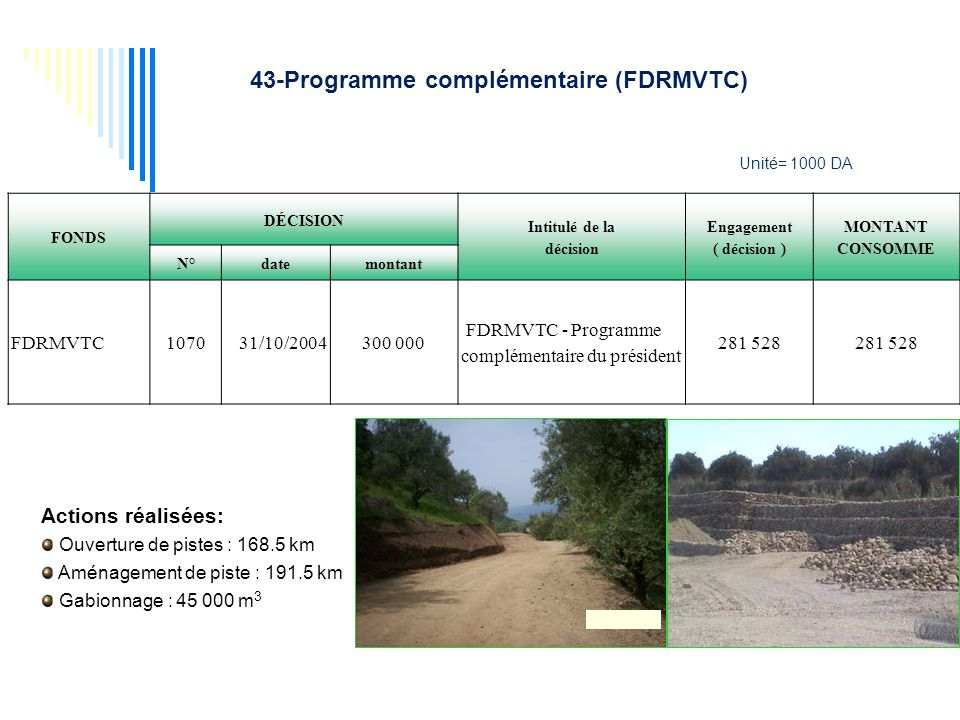43-Programme complémentaire (FDRMVTC)