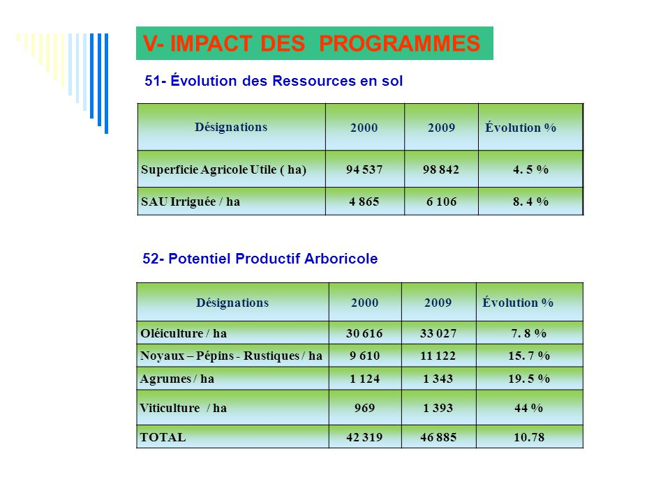 V- IMPACT DES PROGRAMMES