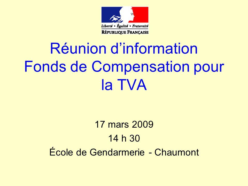 Réunion d'information Fonds de Compensation pour la TVA