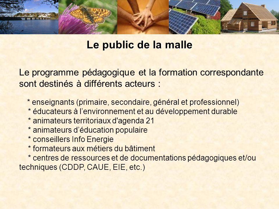Le public de la malle Le programme pédagogique et la formation correspondante sont destinés à différents acteurs :