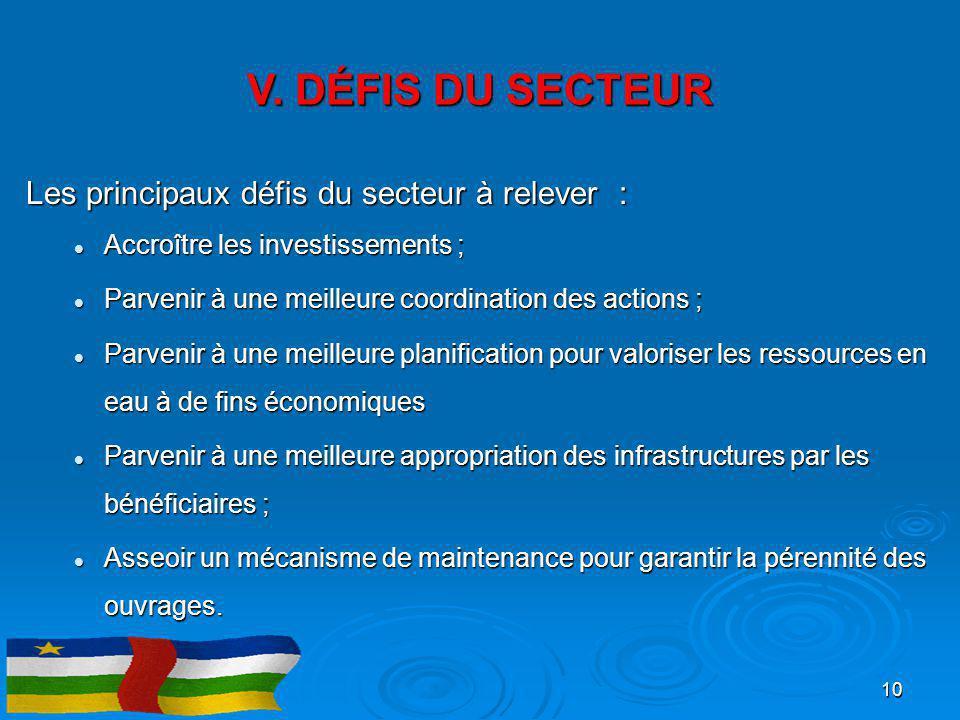 V. DÉFIS DU SECTEUR Les principaux défis du secteur à relever :
