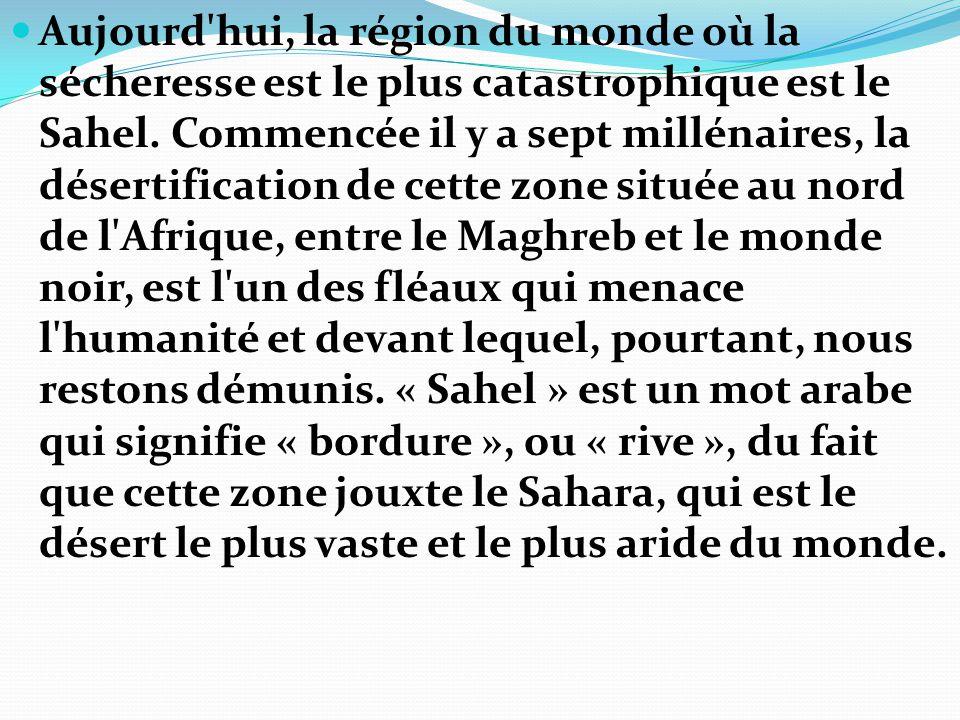 Aujourd hui, la région du monde où la sécheresse est le plus catastrophique est le Sahel.