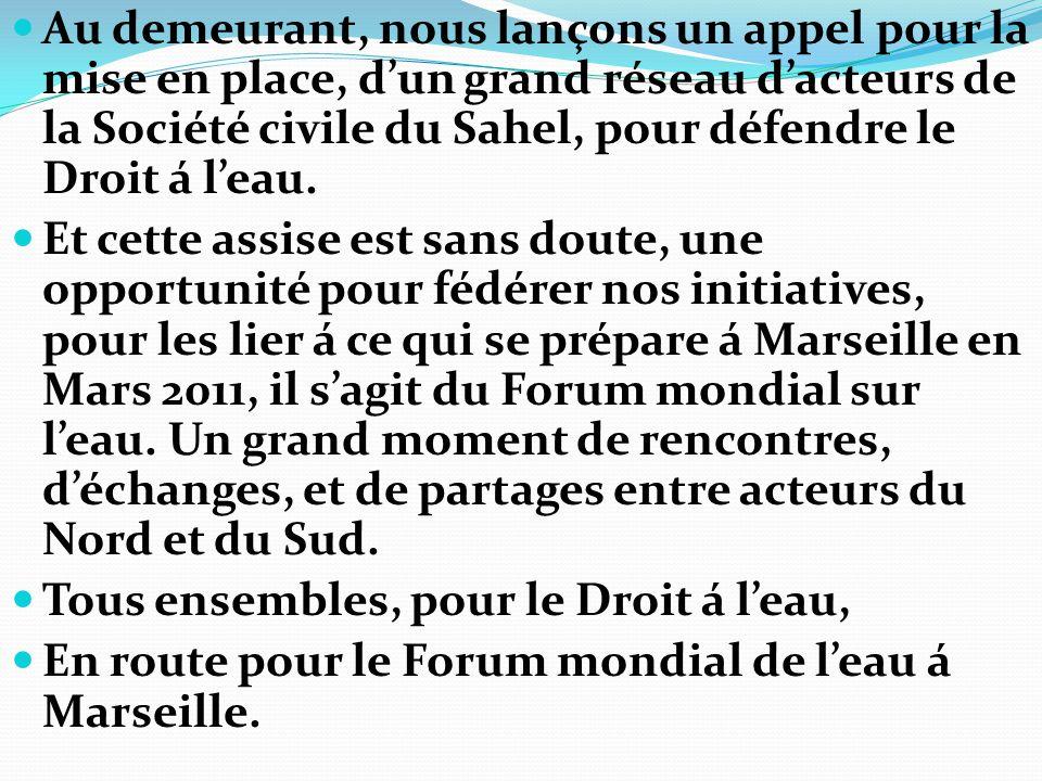 Au demeurant, nous lançons un appel pour la mise en place, d'un grand réseau d'acteurs de la Société civile du Sahel, pour défendre le Droit á l'eau.