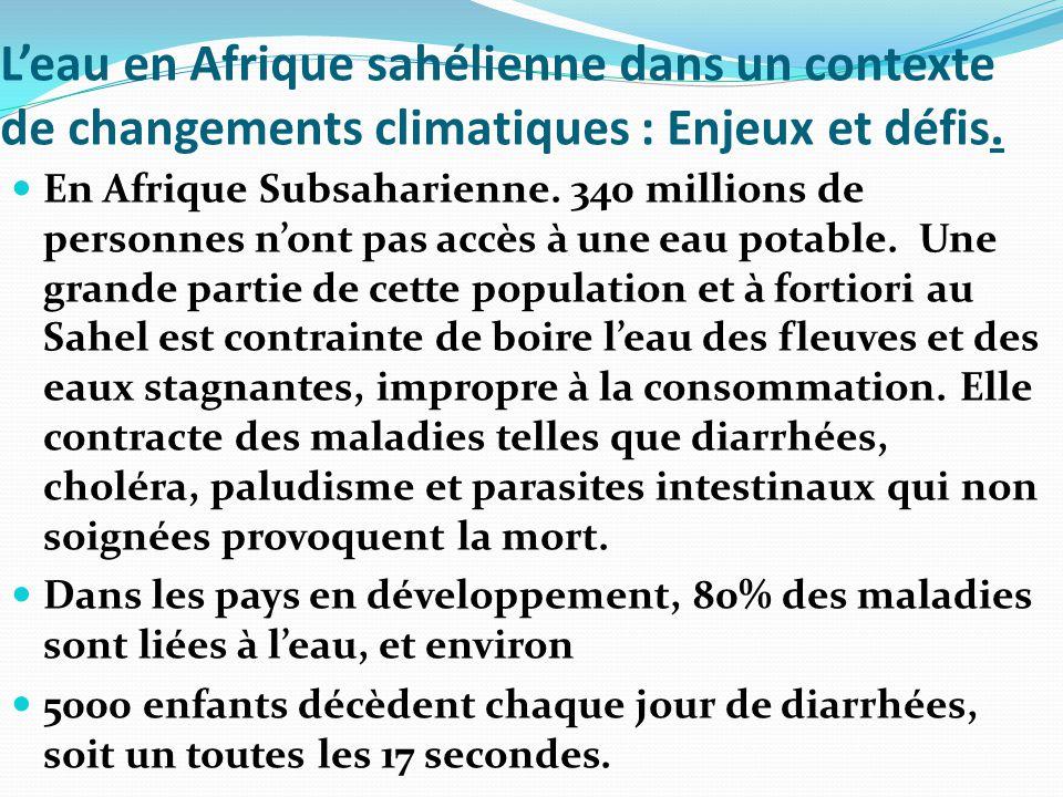 L'eau en Afrique sahélienne dans un contexte de changements climatiques : Enjeux et défis.