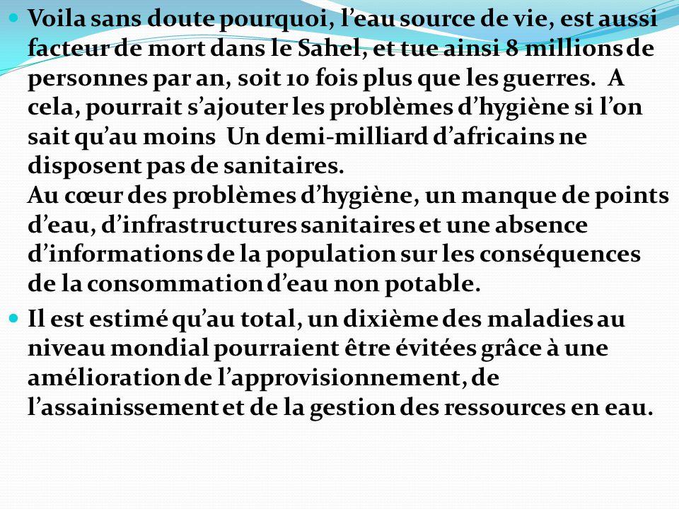Voila sans doute pourquoi, l'eau source de vie, est aussi facteur de mort dans le Sahel, et tue ainsi 8 millions de personnes par an, soit 10 fois plus que les guerres. A cela, pourrait s'ajouter les problèmes d'hygiène si l'on sait qu'au moins Un demi-milliard d'africains ne disposent pas de sanitaires. Au cœur des problèmes d'hygiène, un manque de points d'eau, d'infrastructures sanitaires et une absence d'informations de la population sur les conséquences de la consommation d'eau non potable.