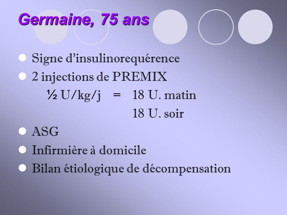 Germaine, 75 ans Signe d'insulinorequérence 2 injections de PREMIX
